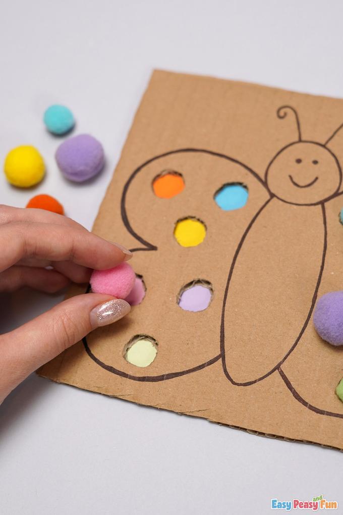 Butterfly Pom Pom Color Match Activity