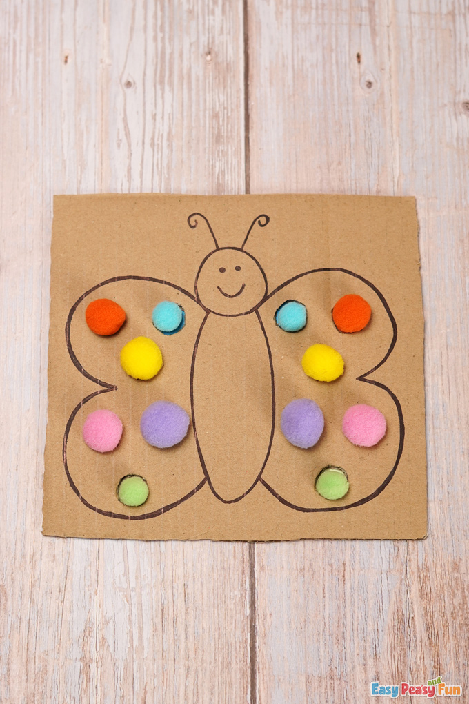 Cardboard Butterfly Color Match Craft Activity