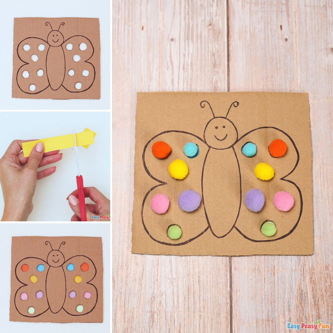Cardboard Butterfly Color Matching Idea