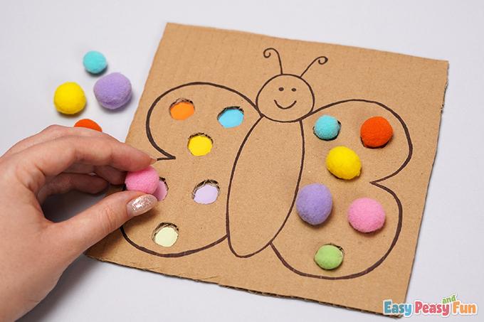 Cardboard Butterfly Pom Pom Color Match