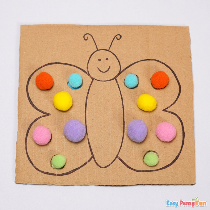 Cardboard Butterfly Pom Pom Color Matching Activity