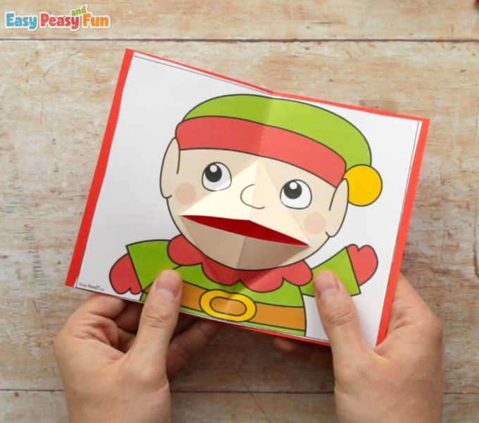 Christmas Pop Up Card Elf Template