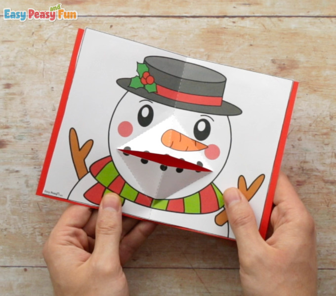 Christmas Pop Up Card Snowman Template