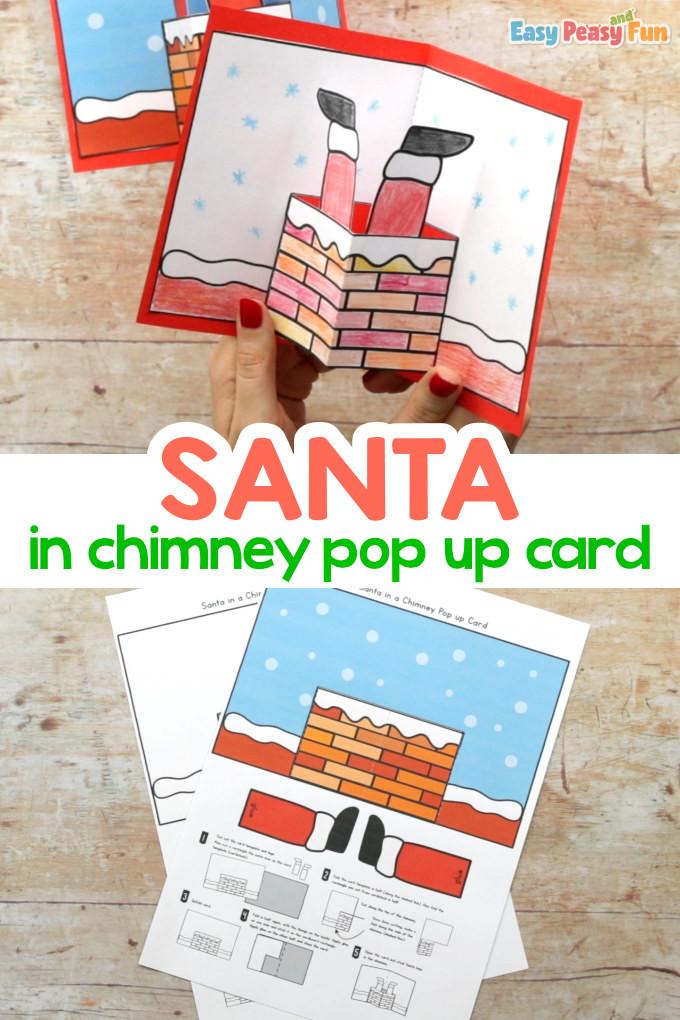 Christmas Santa in Chimney Pop Up Card Template