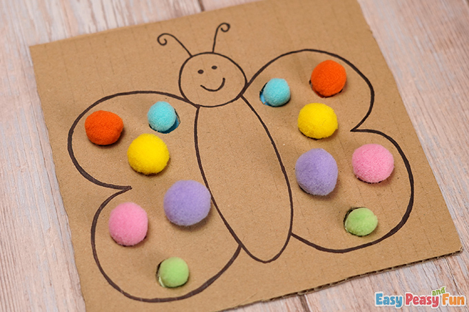 DIY Cardboard Butterfly Color Match Craft Activity