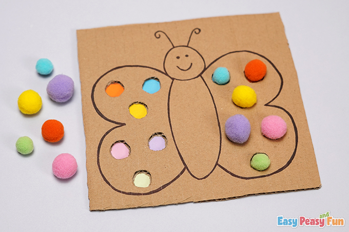DIY Cardboard Butterfly Color Matching Craft Activity