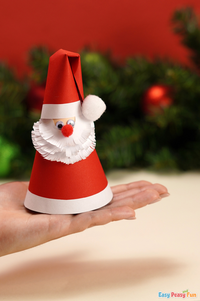 DIY Paper Cone Santa Claus Christmas Craft