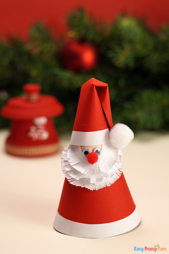 DIY Paper Cone Santa Claus Tutorial