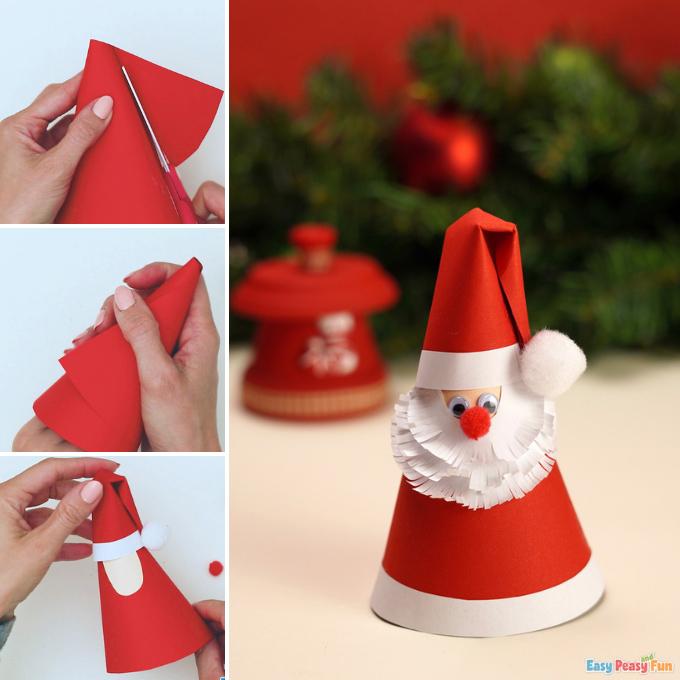 Paper Cone Santa Claus Idea