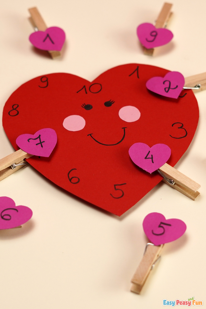 V-Day Heart Number Matching Activity