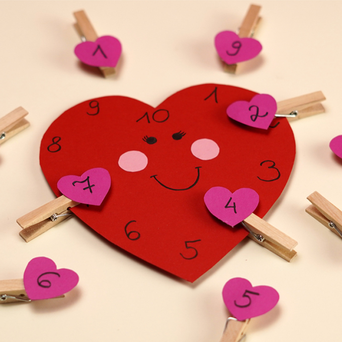 Valentines Day Heart Number Match Activity