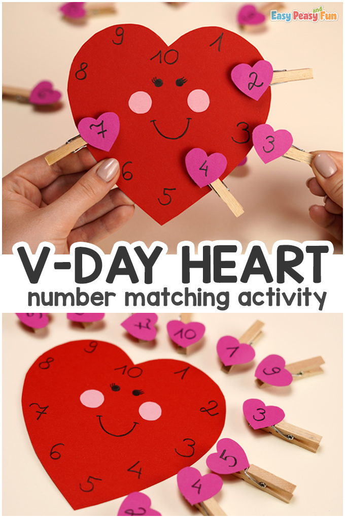 Valentines Day Number Matching Activity