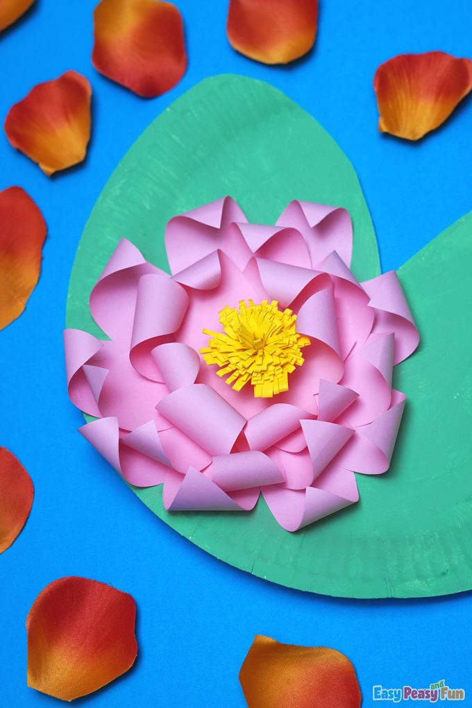 Water Lily Flower Paper Plate Craft