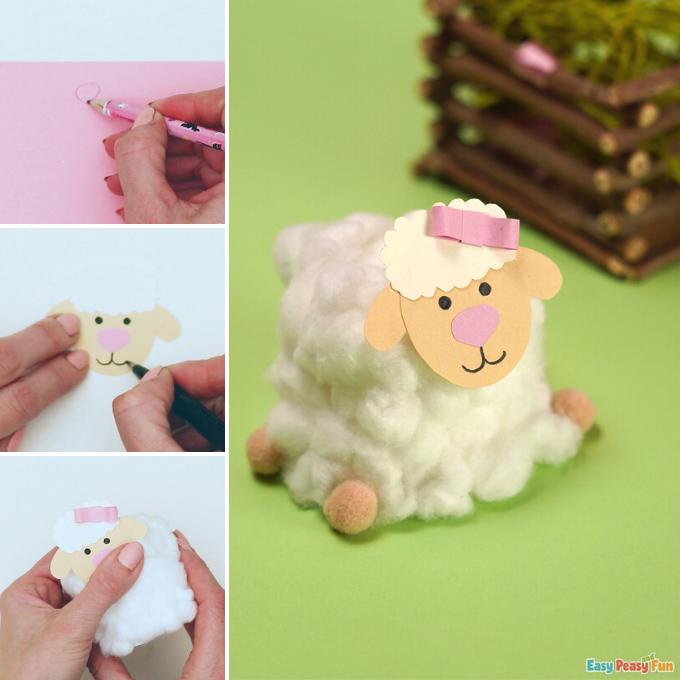 Cotton Ball Sheep Craft Idea