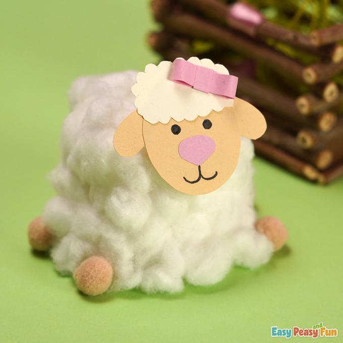Cotton Ball Sheep Easter Craft