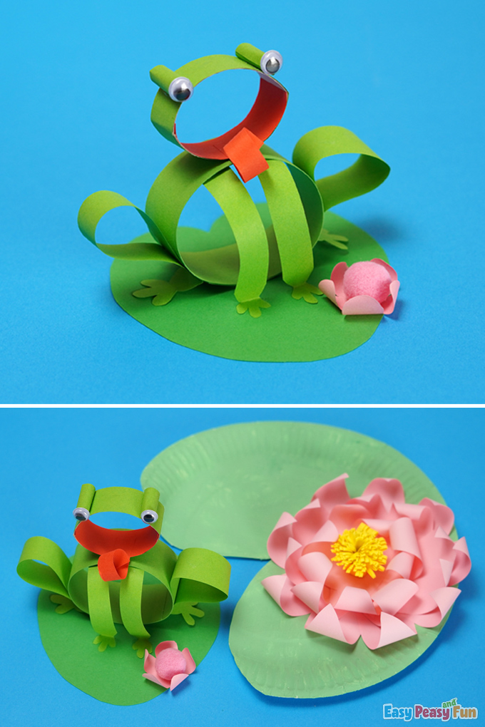 DIY Frog Craft made with Paper Strips