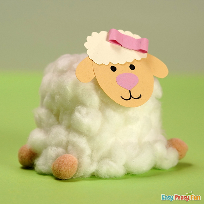 Easter Cotton Ball Sheep Craft