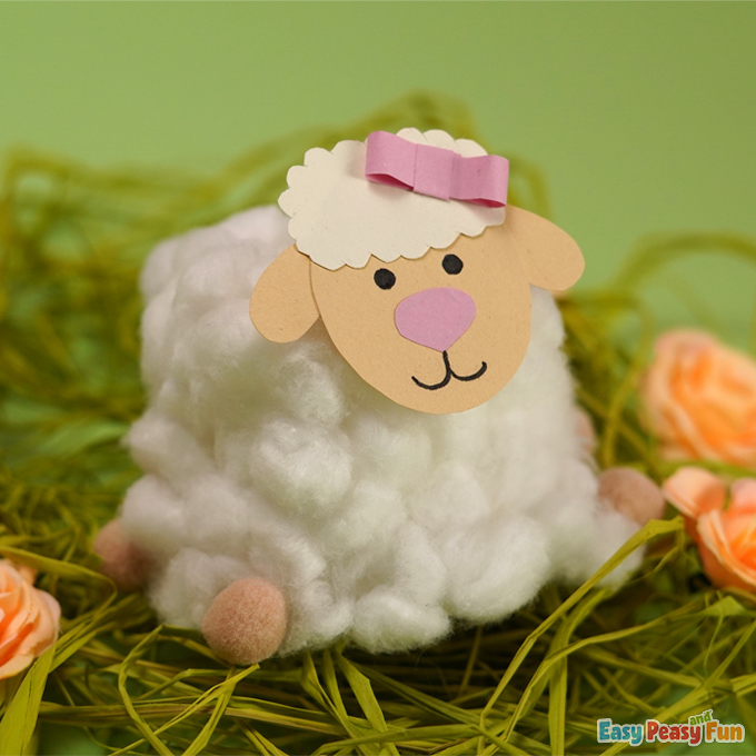 Easter Sheep Cotton Ball Craft