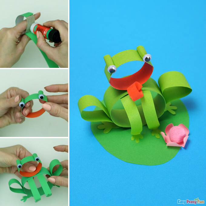 Frog Craft made with Paper Strips Idea