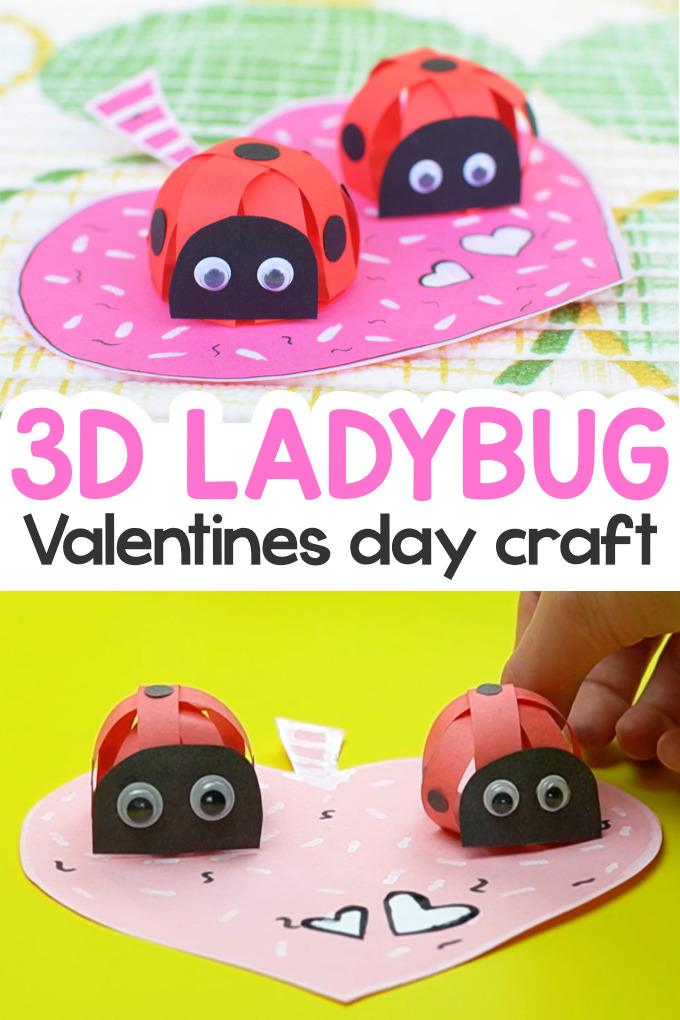 Valentines Day Paper Strips Ladybug Craft