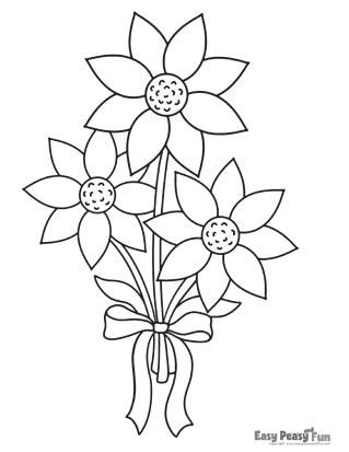 Flowers Coloring Pages - Simple Bouquet