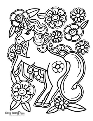 Flower Unicorn Coloring Page