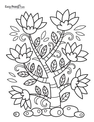 Flowers Tree Coloring Page