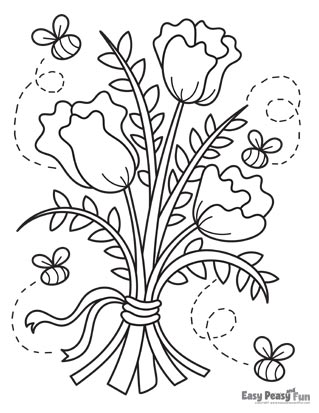 Flowers and Bees Coloring Page