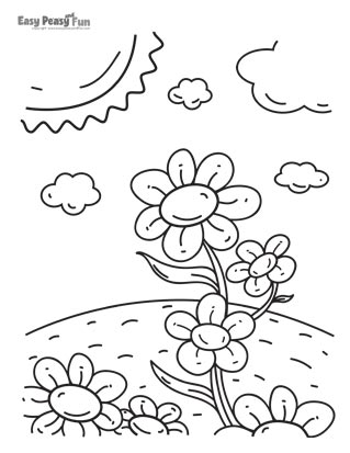 Flowers in a Field Coloring Page