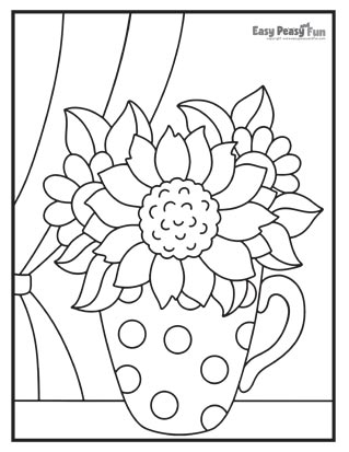 Flowers on a Shelf Coloring Page