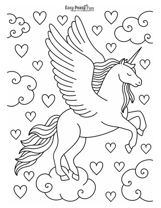 Flying Unicorn Coloring Page