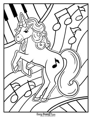 Musical Unicorn Coloring Page