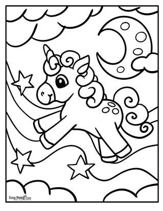 Night Unicorn Coloring Page