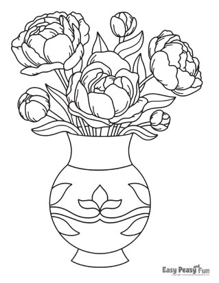 Peony Flowers Coloring Sheet