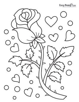 Flowers Coloring Pages - Red Rose