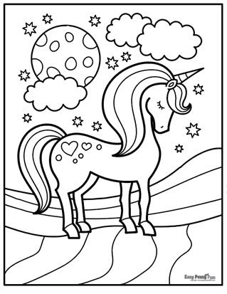 Sleeping Unicorn Coloring Page
