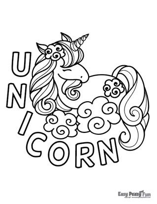 Sleeping Unicorn Coloring Sheet