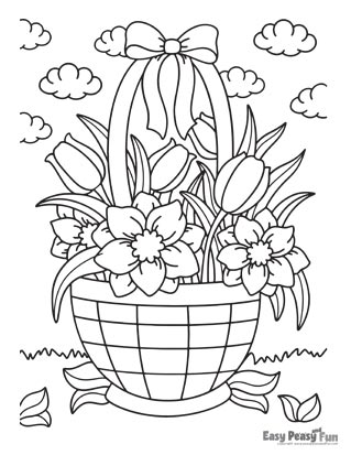 Flowers Coloring Pages - Flower Basket