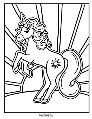 Sunset Unicorn Coloring Page
