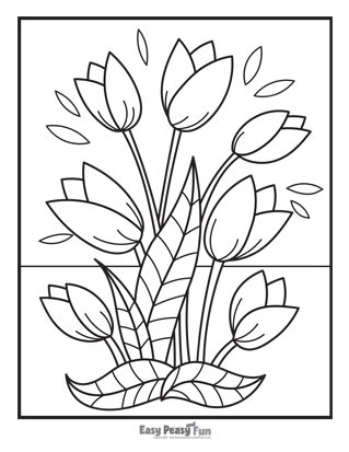 Flower Coloring Pages - Tulips