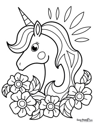 Unicorn and Flowers Coloring Page