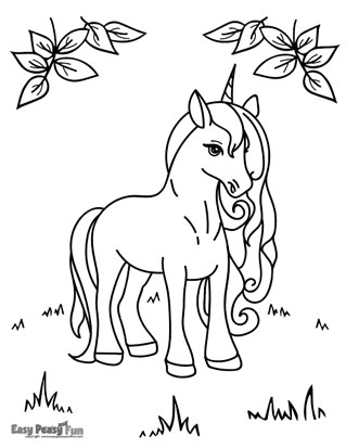 Unicorn in Nature Coloring Sheet