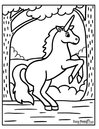 Unicorn in a Forest Coloring Page
