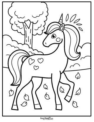 Unicorn in the Woods Coloring Page