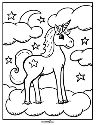 Unicorn on a Cloud Coloring Page