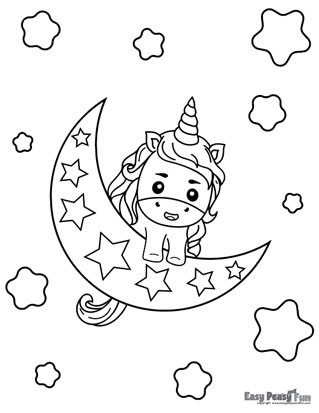 Unicorn on the Moon Coloring Page