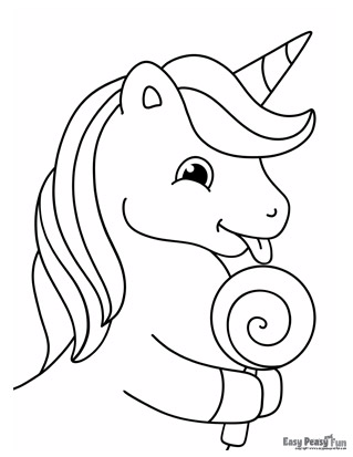 Unicorn with Candy Lollipop Coloring Page