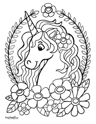 Unicorn with Flowers Coloring Page