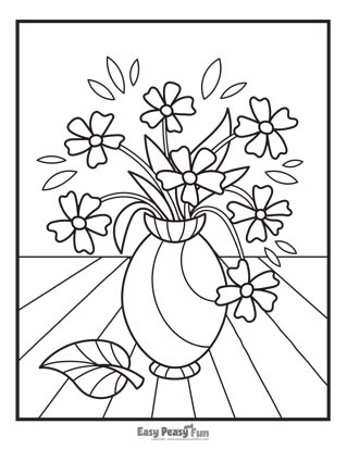 Flowers Coloring Pages - Vase