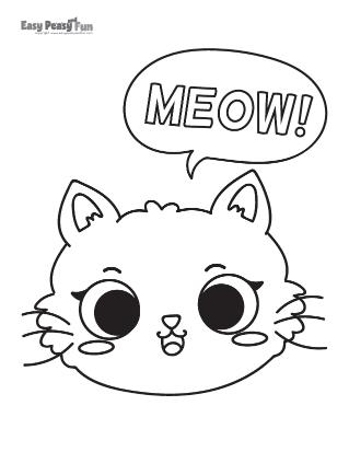Meow Cat Coloring Sheet